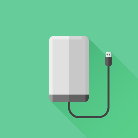 hard: Portable hard drive disk flat icon Illustration