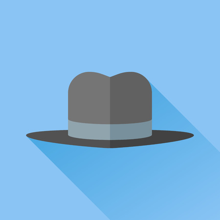 brim: Gangster hat with a wide brim flat icon