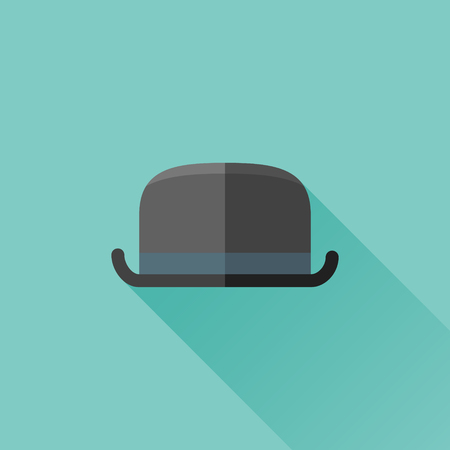 bowler hat: Bowler hat flat icon Illustration