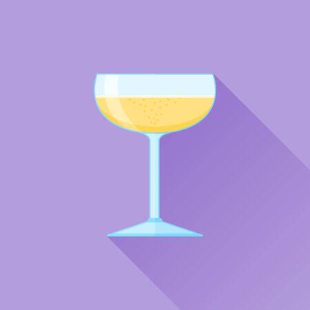 champagne celebration: Glass of champagne flat icon Illustration