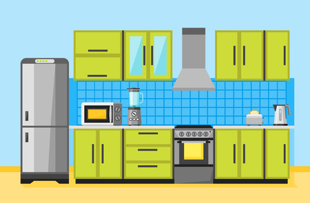 living room wall: Kitchen interior with furniture and appliances. Flat vector illustration.