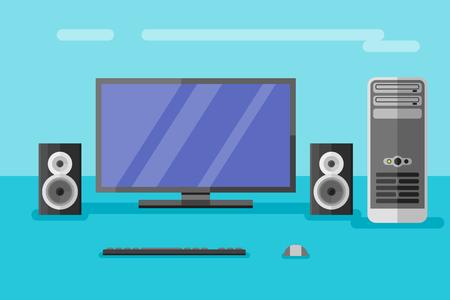 mysz: Komputer stacjonarny z monitorem, głośniki, klawiatury i myszy. Płaski ilustracji wektorowych stylu.