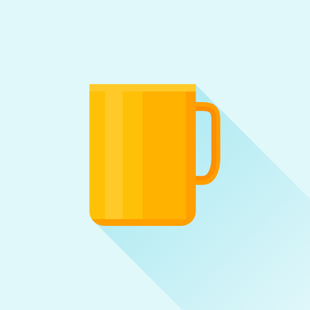 tea cup: Mug or cup flat icon with long shadow Illustration