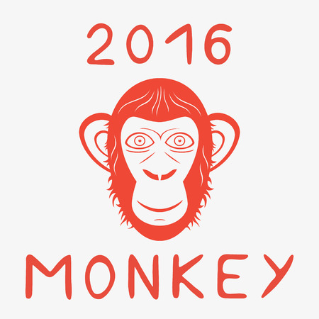 Monkey head red year sign with hand drawn lettering