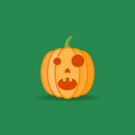Amazed halloween pumpkin isolated on dark green background. Flat style icon. Vector illustration. Illustration