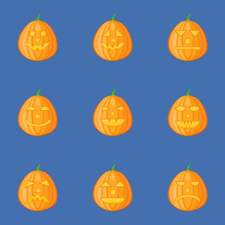 Set of pumpkins for Halloween with different facial expressions. Jack-o-Lantern. Vector illustration.