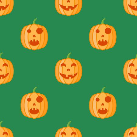 Seamless pattern with halloween pumpkins on green background. Vector texture. Illustration