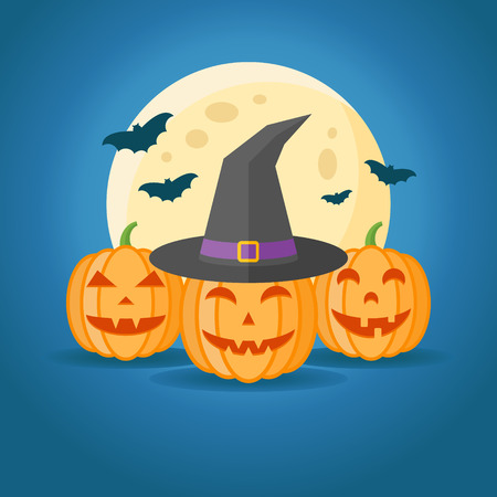 Halloween design with pumpkins, witch hat, full moon and bats on dark blue background. Vector illustration.