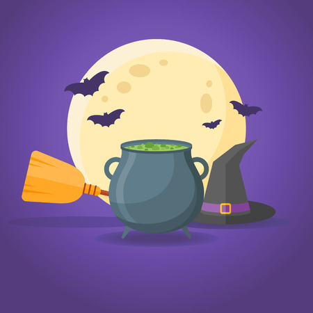 Halloween design with cauldron with potion, witches hat, broom, full moon and bats on dark purple background. Vector illustration.