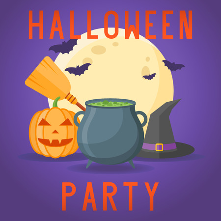 Halloween party poster with cauldron with potion, witches hat, broom, pumpkin, full moon and bats on dark purple background. Vector illustration.