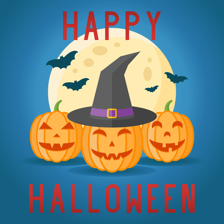 hag: Happy Halloween card with pumpkins, witch hat, full moon and bats on dark blue background. Vector illustration. Illustration