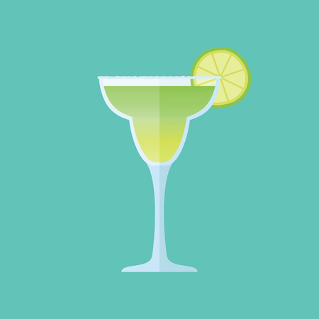 Glass of margarita cocktail with lime slice isolated on background. Flat style icon. Vector illustration.