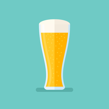 Glass of light beer isolated on background. Lager vector illustration. Flat style icon. Illustration