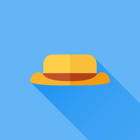 Tourist or camping hat flat icon with long shadow on blue background. Vector illustration. Illustration