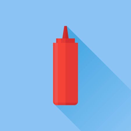 catsup bottle: Red bottle with tomato ketchup flat icon with long shadow on blue background. Vector illustration.