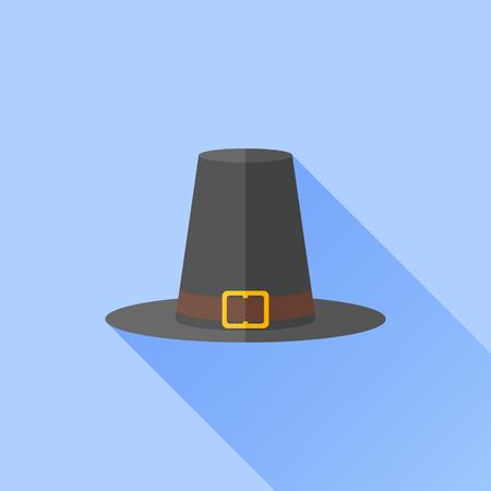 pilgrim hat: Pilgrim hat flat icon with long shadow on blue background. Thanksgiving symbol. Vector illustration.