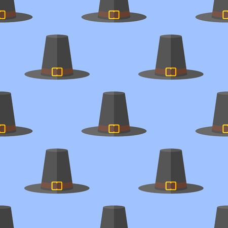 pilgrim hat: Seamless pattern with pilgrim hat on blue background. Thanksgiving vector texture. Illustration