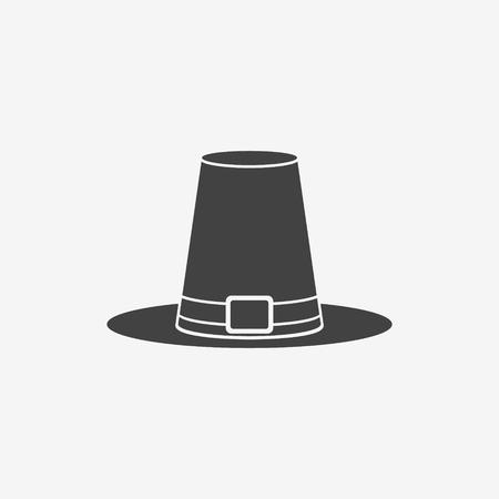 pilgrim hat: Pilgrim hat monochrome icon. Thanksgiving symbol. Vector illustration.
