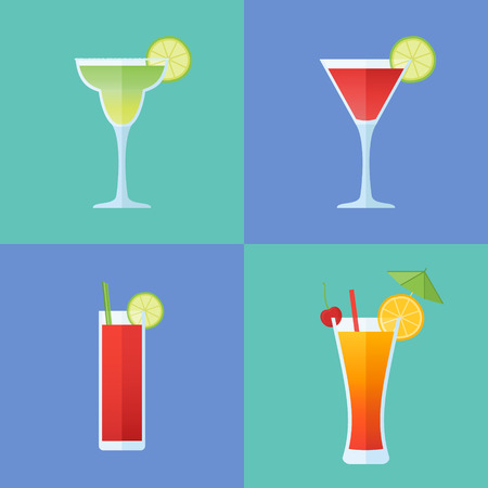 Set of popular alcoholic cocktails. Margarita, cosmopolitan, bloody mary and tequila sunrise. Flat style icons. Vector illustration. Illustration