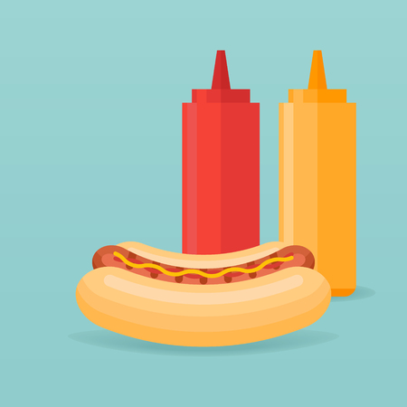 Hot dog and bottles of ketchup and mustard isolated on background. Vector illustration.
