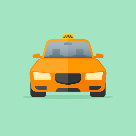 Yellow taxi cab isolated on green background. Front view. Car vector illustration. Flat style icon.