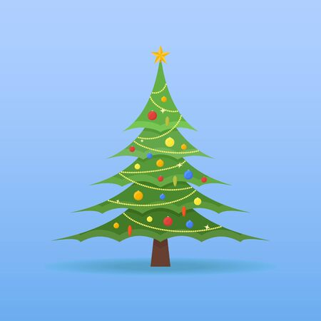 ball and chain: Decorated Christmas tree with colorful baubles and star on the top on blue background. Flat style vector illustration.