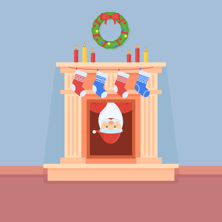 Kerstman kijkt uit van de open haard. Kamer interieur met kerstversiering. Vlakke stijl vector illustratie.