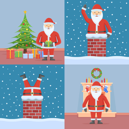 Set of Christmas cards with Santa Claus. Flat style vector illustration. Illustration