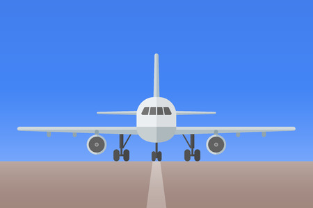 Airplane with landing gear on runway. Front view. Aircraft flat style vector illustration.
