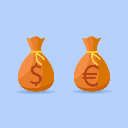 Set of money bags with dollar and euro sign isolated on blue background. Flat style icons. Vector illustration.