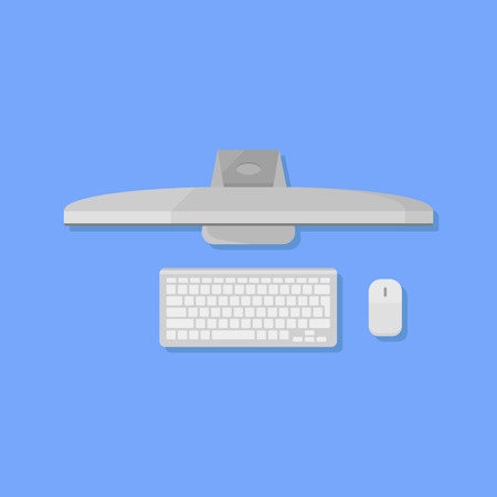 Desktop personal computer with monitor, keyboard and mouse flat style icon. Top view. Vector illustration. Illustration