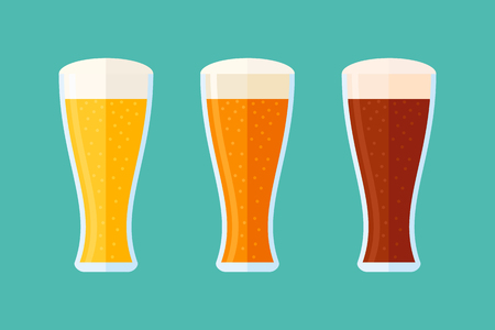 Different beer types: classic white, light and dark. Set of glasses with beer. Flat style horizontal banner.