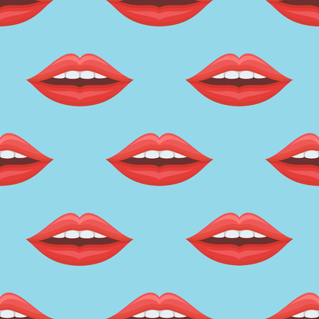 Seamless pattern with woman red lips on blue background. Vector texture. Illustration