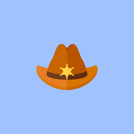 Sheriff hat with star isolated on blue background. Flat style icon. Vector illustration.