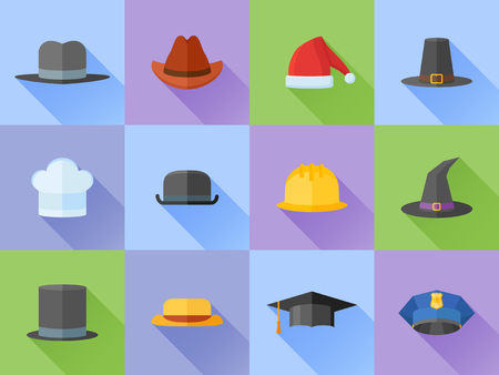 Set of hats flat style icons with long shadow. Vector illustration.