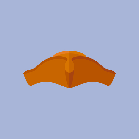 tricorn hat: Pirate cocked hat isolated on blue background. Tricorn flat style icon. Vector illustration.