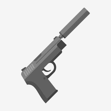 Gun with silencer isolated on white background. Automatic pistol flat style vector illustration. Çizim