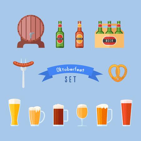 bbq barrel: Set of Oktoberfest flat icons. Beer glasses, bottles, barrel, sausage and pretzel. Beer festival design. Vector illustration. Illustration