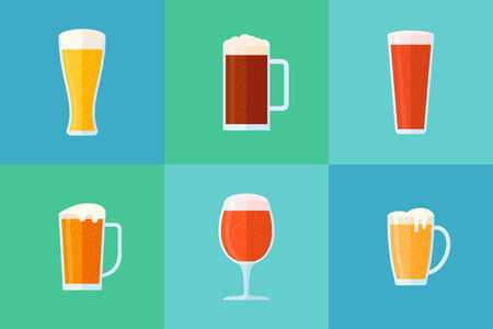 Set of beer glasses flat style icons. Different beer types: classic, white, light, red and dark. Vector illustration. Ilustrace