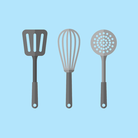 Kitchen utensils isolated on blue background. Spatula, skimmer and whisk flat style icons. Vector illustration.