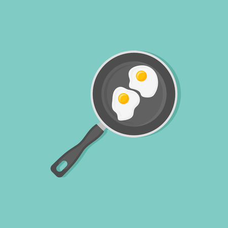 Fried eggs in frying pan isolated on background. Top view. Flat style vector illustration.