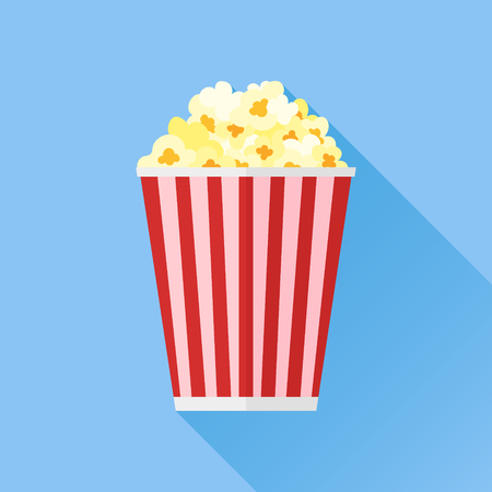 Popcorn flat icon with long shadow on blue background. Vector illustration.