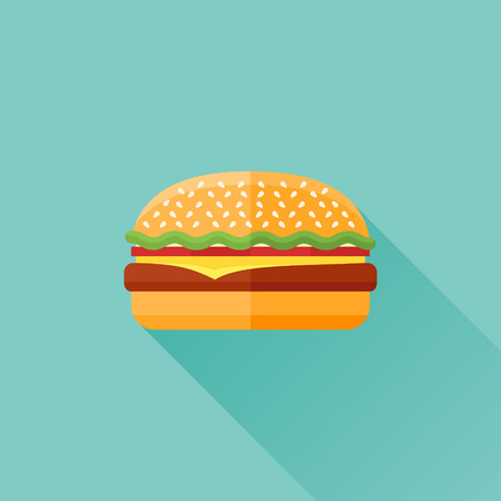 sesame: Hamburger flat icon with long shadow on teal background. Vector illustration. Illustration