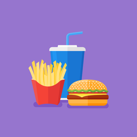 Fast food. Hamburger, french fries and soda takeaway. Flat style vector illustration. Illustration