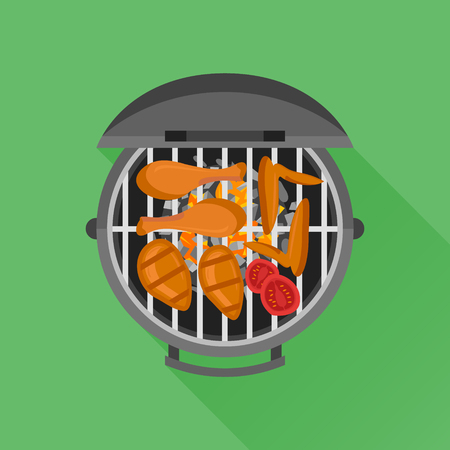 Barbecue and grilled chicken flat style vector illustration.