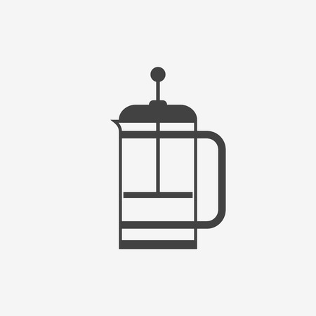 French press monochrome icon on white background. Vector illustration.