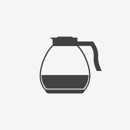 Glass coffee pot monochrome icon on white background. Vector illustration. Illustration