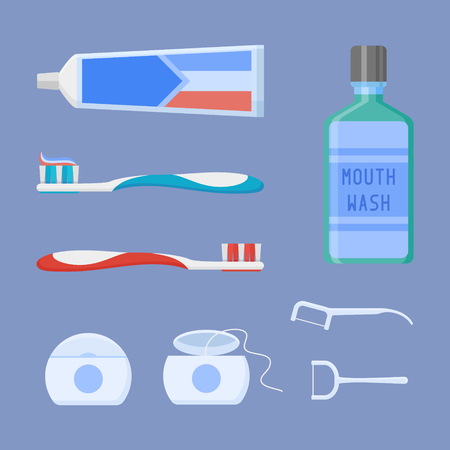 Set of dental cleaning tools. Toothpaste, toothbrush, mouthwash, dental floss and toothpick on blue background.