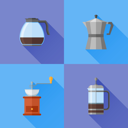 Set of coffee makers flat style icons with long shadow. French press, coffee pot and grinder. Vector illustration.