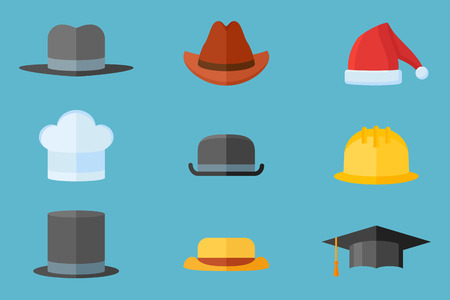Set of hats isolated on blue background. Safety helmet, bowler, top hat, graduation cap, chef, gangster, tourist, cowboy and Santa Claus hats. Flat style vector illustration. Illustration
